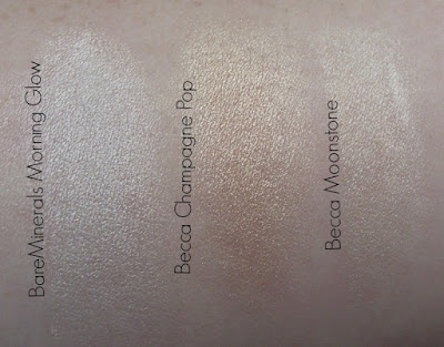 BareMinerals Morning Glow, Becca Champagne Pop, Becca Moonstone