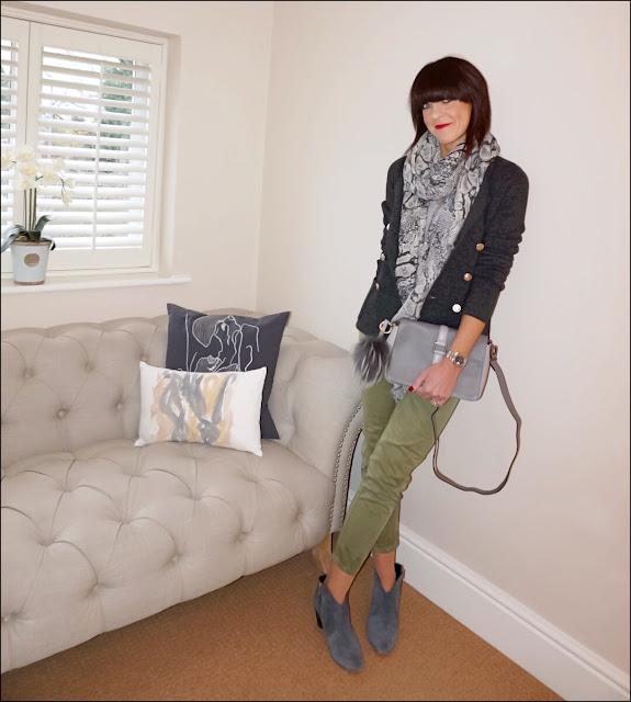 My Midlife Fashion, Hush Snake cashmere shawl, uniqlo ines de la fresange double breasted knitted jacket, hush thornton ankle boots, village england fulmer bag, zara khaki chinos