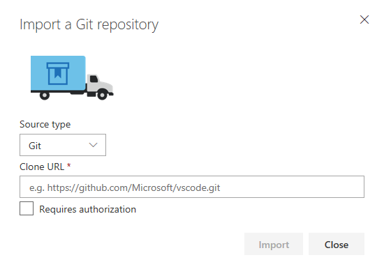 VSTS Import a Git Repository