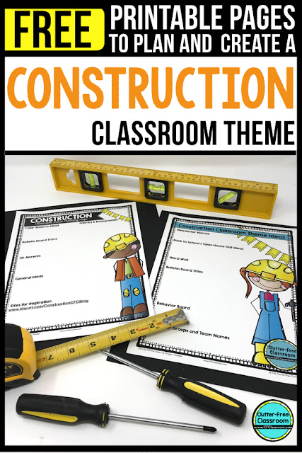 CONSTRUCTION Theme Classroom: If you're an elementary teacher who is thinking about a building, community, or construction theme then this classroom decor blog post is for you. It'll make decorating for back to school fun and easy. It's full of photos, tips, ideas, and free printables to plan and organize how you will set up your classroom and decorate your bulletin boards for the first day of school and beyond.