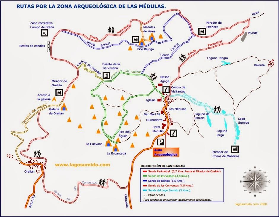 Mapa de senderos de las Médulas