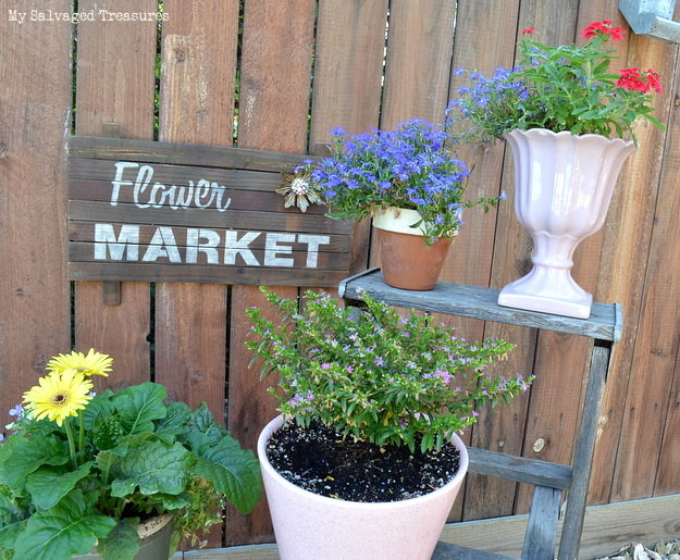Rustic Flower market sign made from scrap wood and Old Sign Stencils