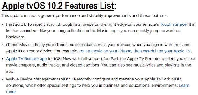Apple tvOS 10.2 Features