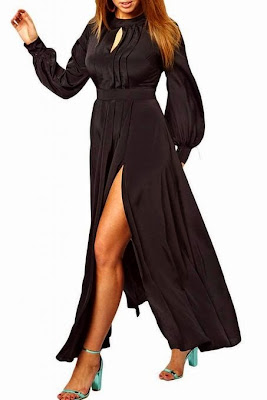 Dear-Lover Women's Plus Size Long Sleeves Front Slit Maxi Club Dress XX-Large Size Black