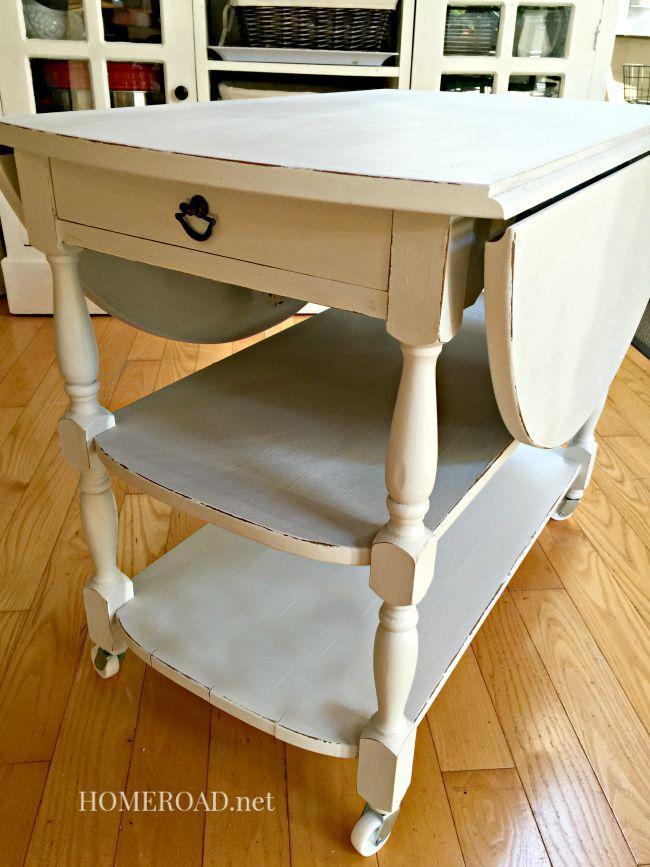 drop leaf end table rolling cart