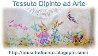 Quadro coniglietti dipinti a mano su tessuto sintetico