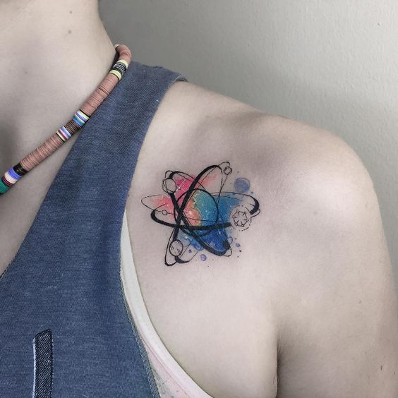 awesome watercolor science tattoos for women