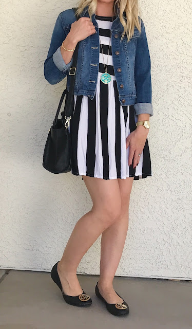 Thrifty Wife, Happy Life || Stripe dress with flats and denim jacket