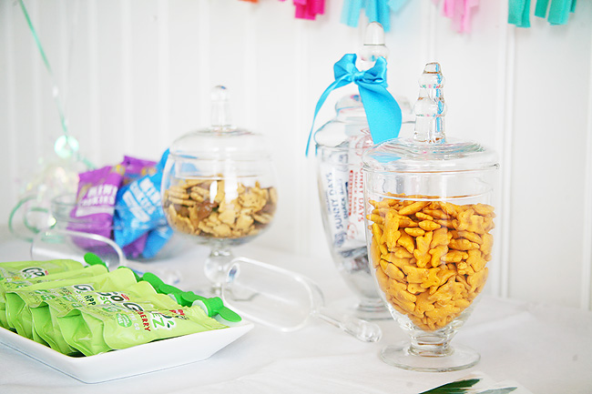 A Bunny themed snack buffet for kids Easter party