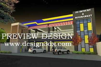 Jasa desain minimarket foodcourt atap dak beton modern minimalis
