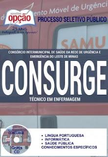 Apostila CONSURGE-MG -  Técnico Administrativo e Técnico em Enfermagem. Grátis CD PDF por Download.