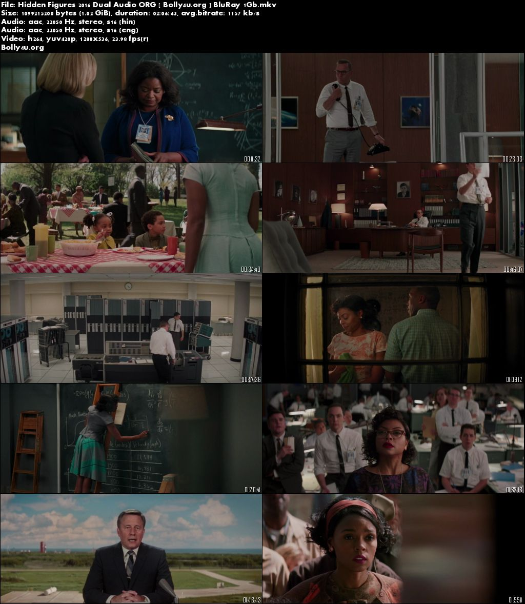 Hidden Figures 2016 BluRay Hindi 400Mb Dual Audio ORG 480p Download