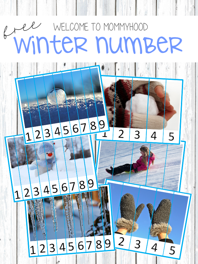 Winter activities: free winter number puzzles printables