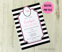 Stripe Flamingo Birthday Invitation