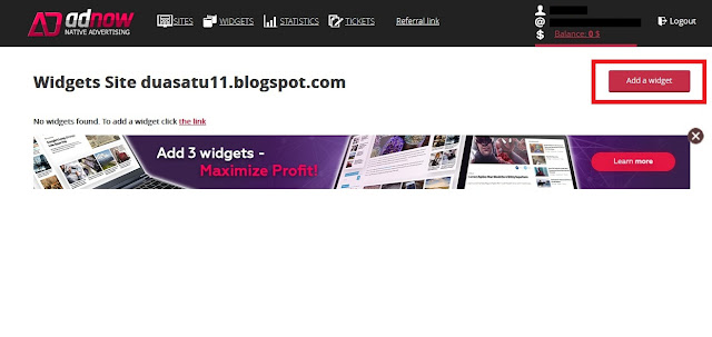Setelah berhasil menambahkan blog/situs Sobat. Sobat kemudian klik Add a Widget.