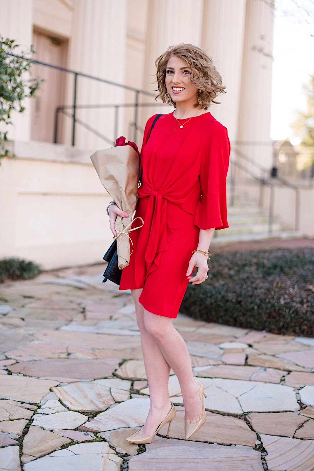 Red Knot Front Dress for Valentines Day - Click through for the full post on Something Delightful Blog