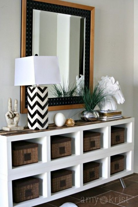 Ikea Hack For Kallax Shelving For Chic Console Table   Found On Hello  Lovely Studio ...