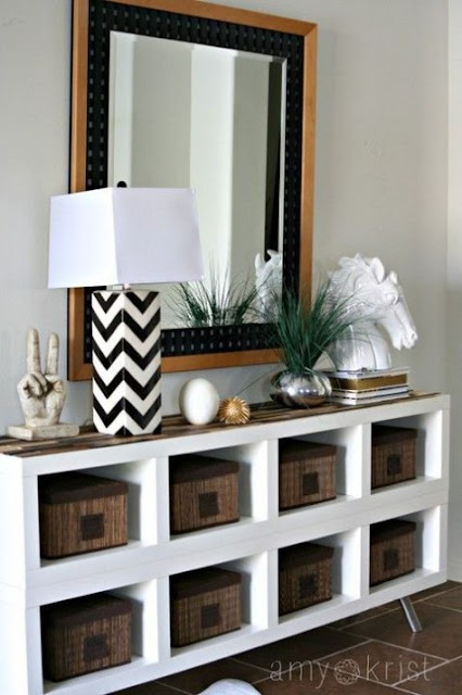 Ikea hack for Kallax shelving for chic console table - found on Hello Lovely Studio