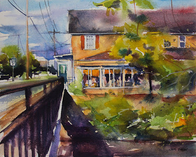 A watercolor painting of the Creekview restaurant in Williamsville, NY.