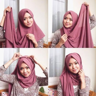 Tutorial hijab segi empat untuk wajah bulat, pipi tembem, hidung pesek
