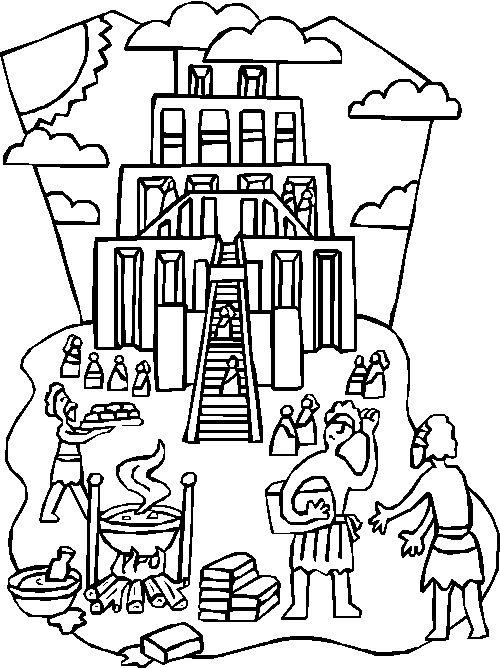 torre de babel, dibujos para colorear
