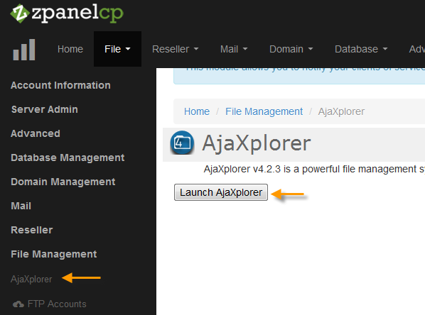 File Management > Ajaxplore > klik Launch Ajaxplorer
