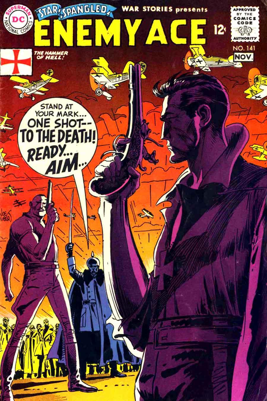 Star Spangled War v1 #141 enemy ace dc comic book cover art by Joe Kubert