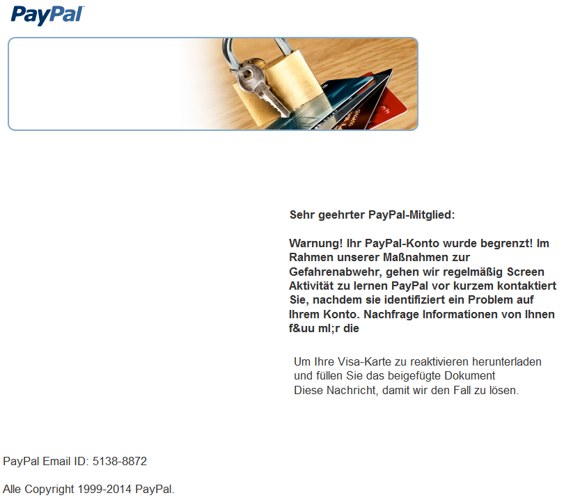 phishing mail alerts ihr paypal konto wurde begrenzt. Black Bedroom Furniture Sets. Home Design Ideas