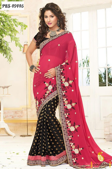 Akshra Hina Khan special pink georgette designer saree online shopping for wedding occasion at pavitraa.in