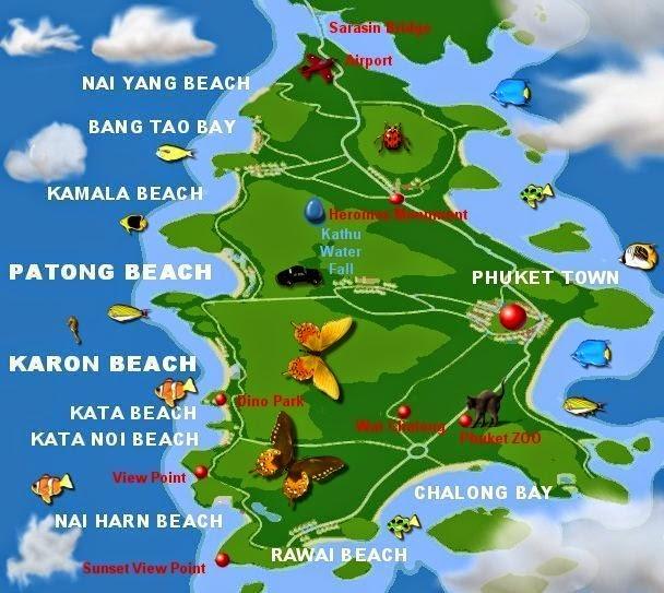 Karta Thailand Patong.Map Of Phuket And Surrounding Areas