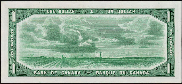 Canadian money currency 1 Dollar banknote 1954 Canadian Landscape, Prairies of Saskatchewan