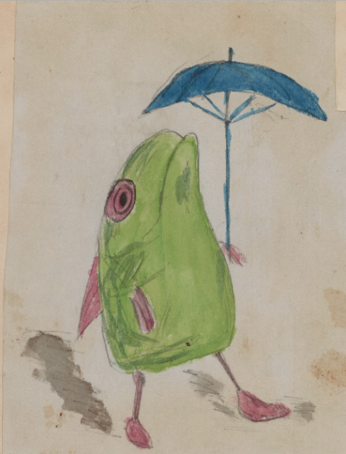 A fish with legs and an umbrella.  Doodle on Origin of a Species manuscript made by Charles Darwin's children. Illustrated By . . . marchmatron.com