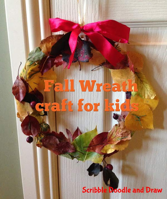 crafts for kids fall wreath made with leaves
