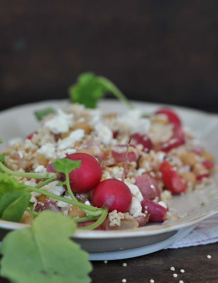 Roasted-Radish-Salad, a gluten free dish with millet, chickpeas and feta cheese