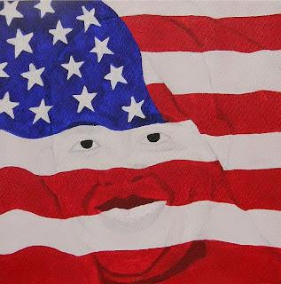 Haitian president behind US flag