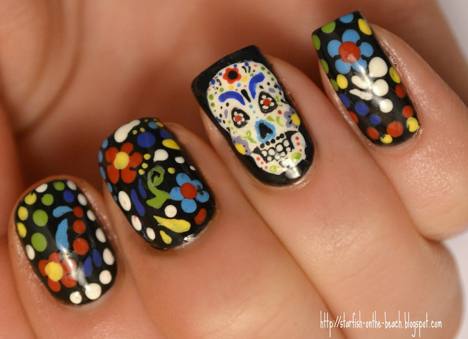 Starfish On The Beach Feliz D 237 A De Los Muertos And 31 Day Nail Art Challenge Day 26 Pattern