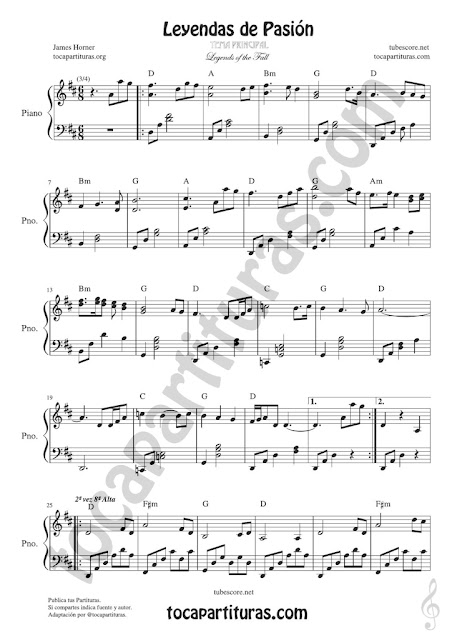 Hoja 1 Leyendas de Pasión Partitura de Piano Versión tocapartituras.com Legend of the Fall Easy Sheet Music for Pianists