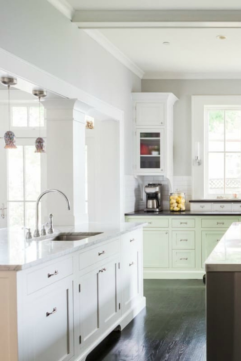 Modern farmhouse kitchen with custom Shaker cabinets on Hello Lovely Studio