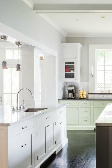 Modern farmhouse kitchen with custom Shaker cabinets on Hello Lovely Studio