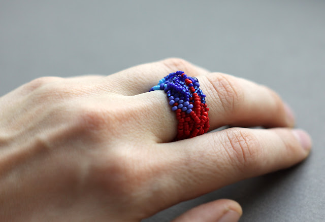 купить красивое кольцо из бисера ручной работы украшения доставка