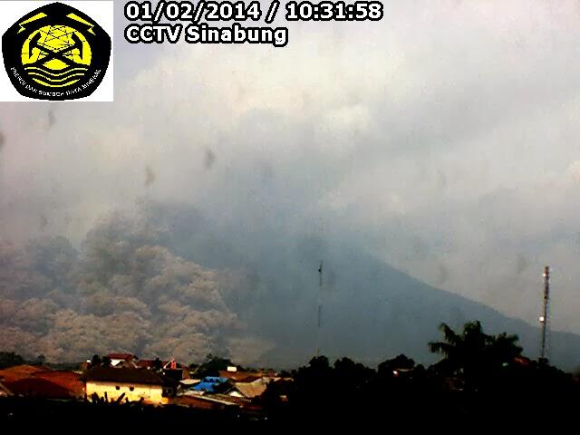 Ecoulement pyroclastique du volcan Sinabung, 01 février 2014