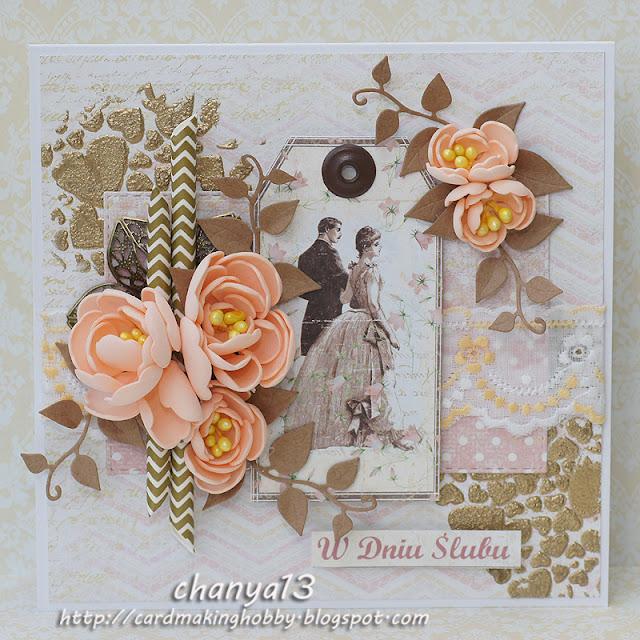 149. Kartka ślubna ze złotymi sercami