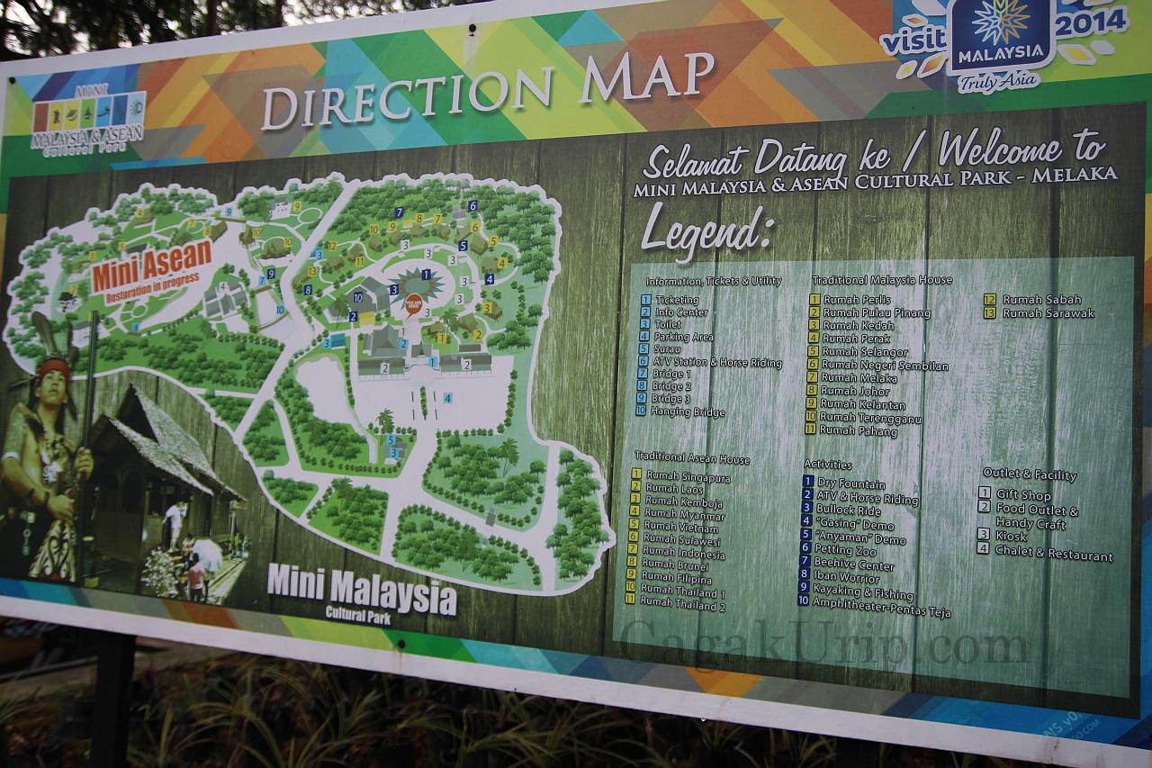 Papan Penunjuk Arah di Mini Malaysia & ASEAN Cultural Park