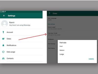 Cara ganti ukuran Font whatsapp di Android dan iOS