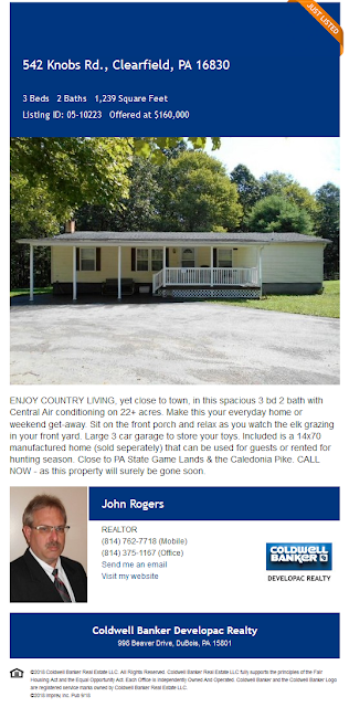 john a rogers coldwell banker developac realty 542 knobs road clearfield county shawville pa wilds