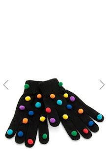 renkli ponponlu siyah eldiven