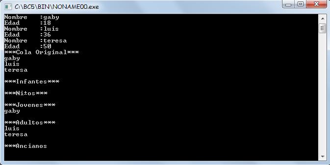 c++ - encolar y desencolar nombres