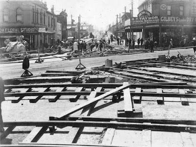 Installing new tracks for the electric trams at St Kilda Junction circa 1925