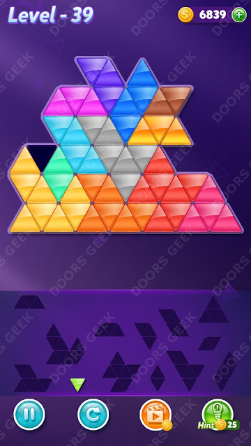 Block! Triangle Puzzle Champion Level 39 Solution, Cheats, Walkthrough for Android, iPhone, iPad and iPod
