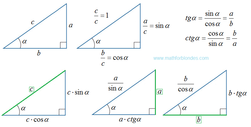 Right triangle trigonometry. Mathematics For Blondes.